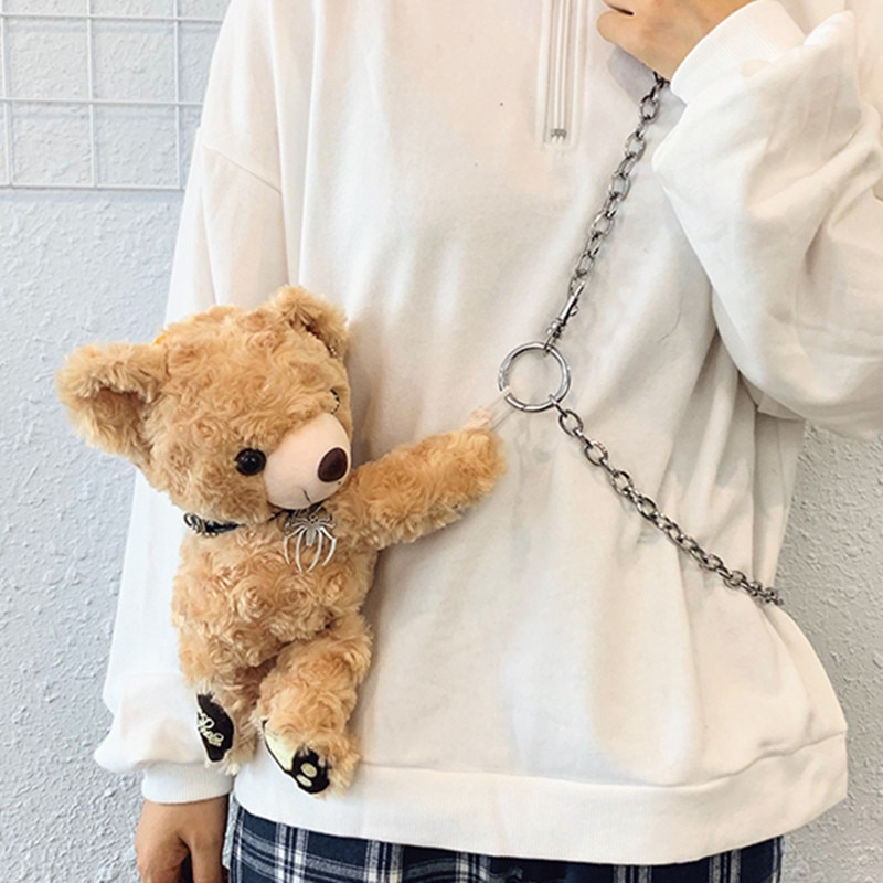 2020 novo bonito urso de pelúcia crossbody saco menina sacos de ombro de pele moda feminina sacos de corrente saco do mensageiro japonês estilo coréia