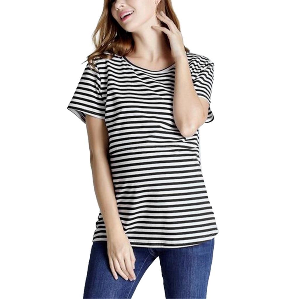Nuevas mujeres embarazadas Tops Nusring lactancia camisa manga corta rayas estampado maternidad ropa blusa vetement femme # g4