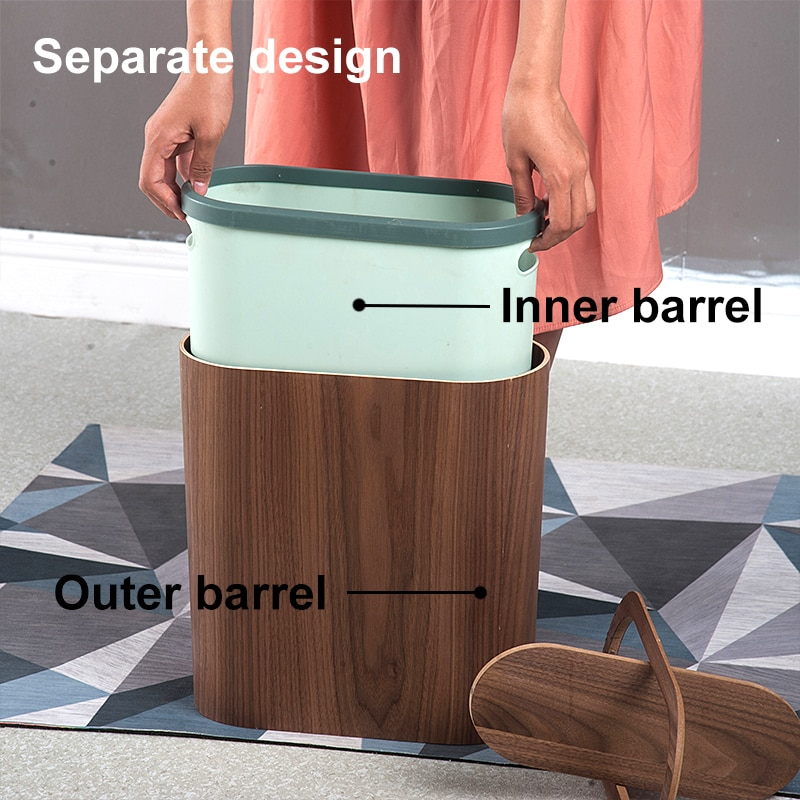 Wooden Trash Can Household Cleaning Tools Office Wastebasket Narrow Trash Can with Lid Storage Bucket Wood Oval Waste Bins enlarge