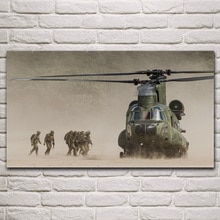 Soldats en mouvement hélicoptère armée militaire fanart salon décoration maison mur art décor toile tissu affiches KM988