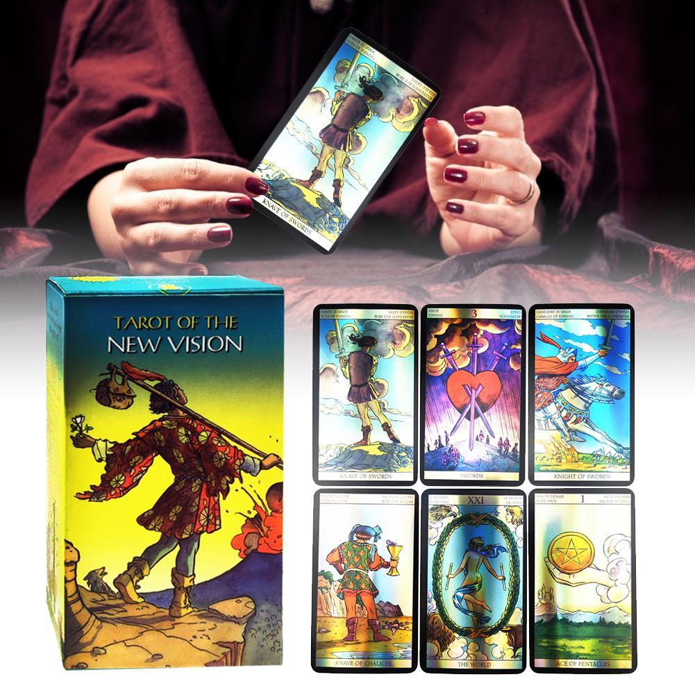 Cartas de Tarot holográficas 78 Uds. Cartas de Tarot para fiestas familiares, cartas de juego, cartas de Tarot, juegos de mesa