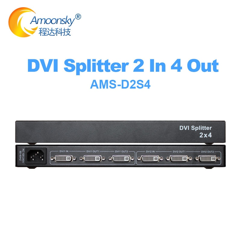 Exibição de Vídeo Fora para Engenharia Monitor de Computador 2 em 4 Splitter Distribuidor Projetor Placa Gráfica Dvi 2×4