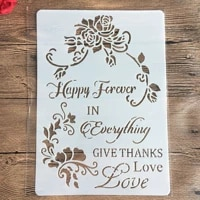 happy flowers love a4 2921cm diy stencils wall painting scrapbook coloring embossing album decorative paper card template
