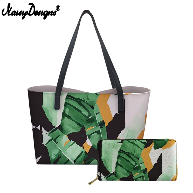 Bolsos de hombro para mujer con cartera set 3D Tropical Leaf Print PU bolso de mano para mujer bolsos de lujo para chica bolsa de playa envío gratuito