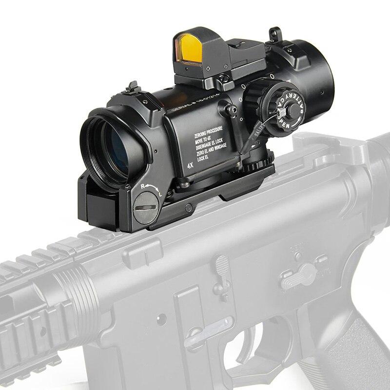 نطاق بندقية تكتيكية 1x - 4x ، عرض رائع ، قابل للفصل ، 1X-4X ، مشهد مزدوج قابل للتعديل للصيد
