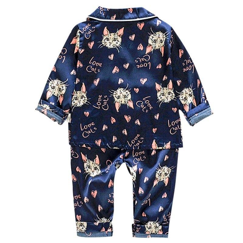 2019 otoño bebé niñas niños dibujos animados gato estampado ropa de dormir conjunto Blusa de manga larga Tops + Pantalones Pijamas