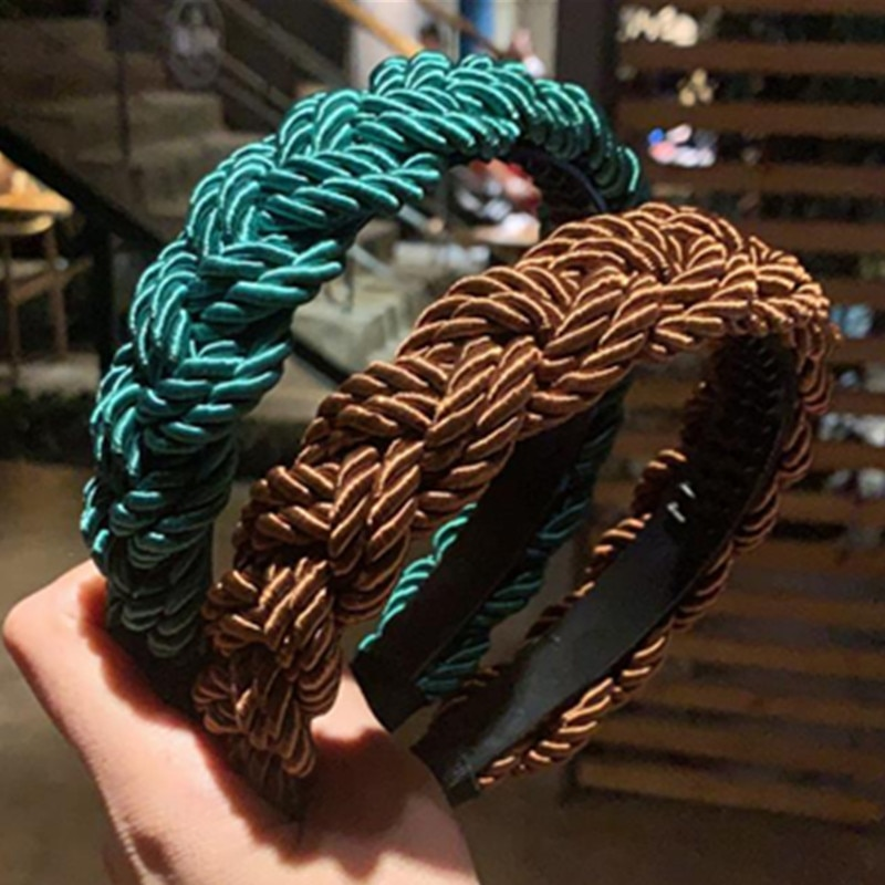 New Braided Rope Headbands for Women European Retro Hair Accessories Solid Weaving Hairbands Toothed