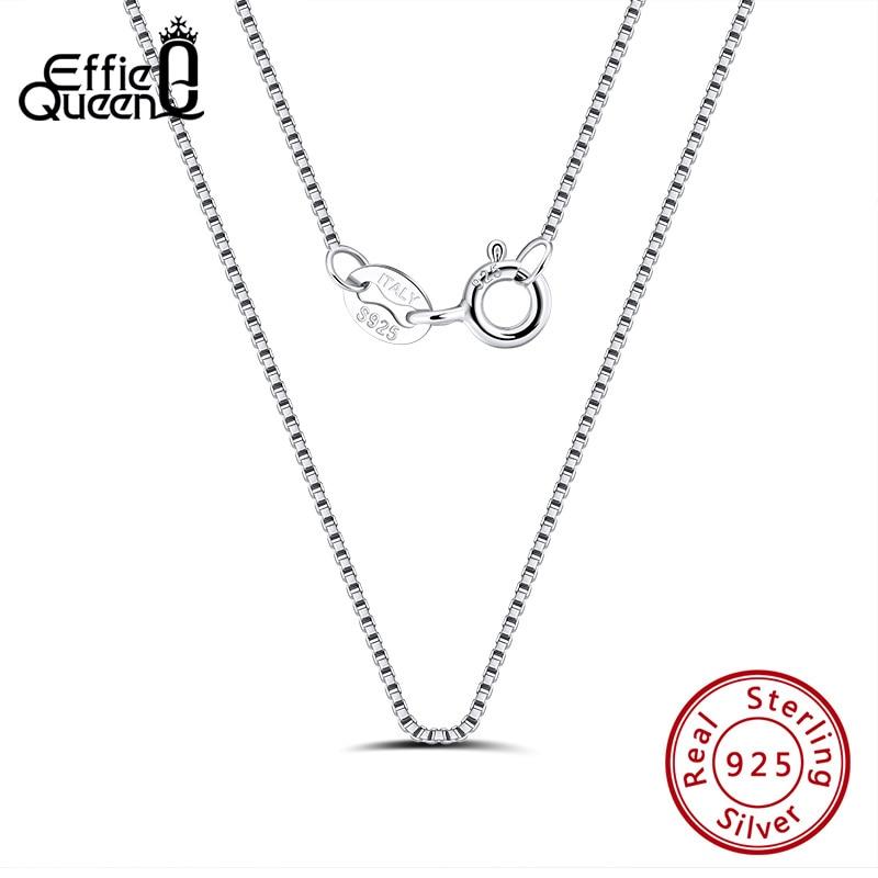 Collar Effie Queen auténtico 100% Plata de Ley 925 de 1,5mm 40cm/45cm/50cm/55cm/60cm para regalo de boda SC33