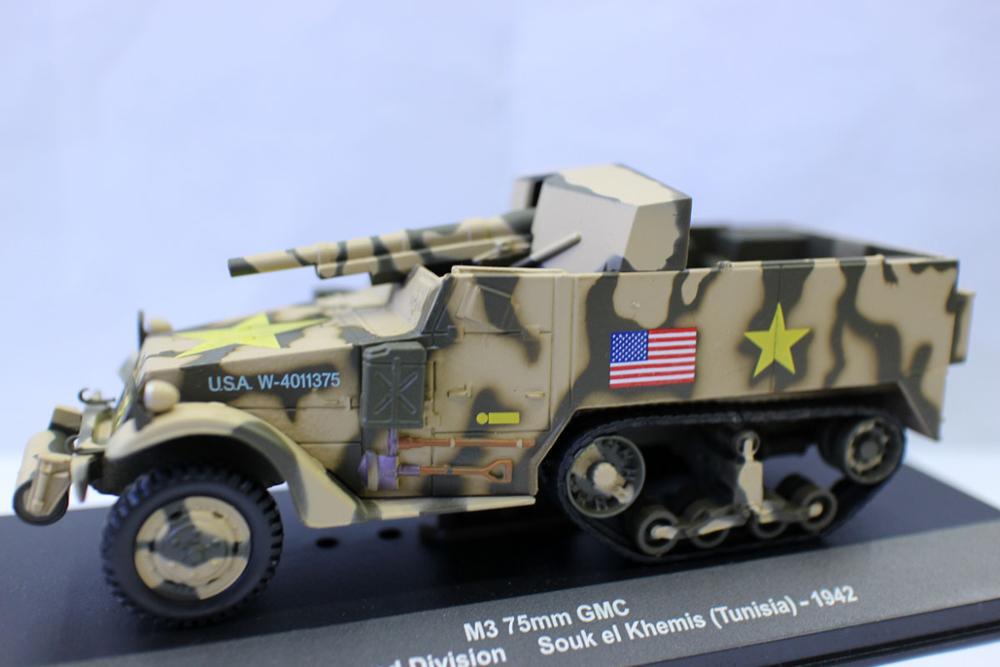 Alyak-tanque militar fundido a presión, escala 1/43, M3, 75mm, GMC, 1ª División...