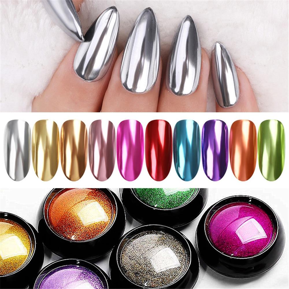 Polvo artístico para uñas, 1 bolsa de polvo para uñas, efecto metálico brillante, oro plata Gel UV para arte de uñas