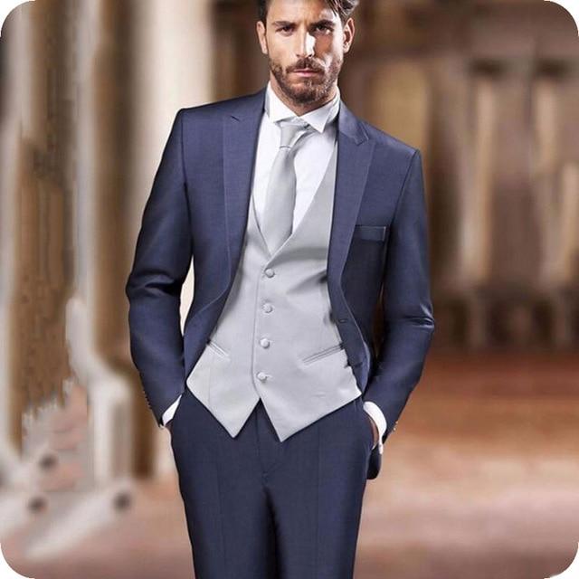 بدلة زفاف إيطالية للرجال ، بدلة أنيقة من 3 قطع مع طية صدر السترة ، توكسيدو ، بدلة رفقاء العريس