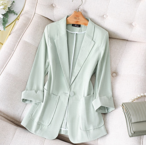 Cotton And Linen Green Suit Jacket New Women 'S Autumn And Winter Small-Sized