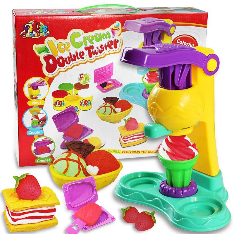 [Funny] DIY Playdough Clay Dough Plasticine Ice Cream Mould Play Kit Diy Toy handmade Ice cream machine kitchen cook toy gift