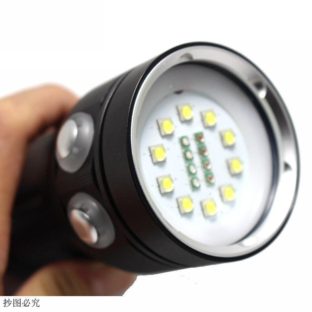 8000 Lumens 10*XM-L2 LED White Light +4x Red Light+4x UV Light Diving Photography Flashlight Torch 200m Underwater Video Light enlarge