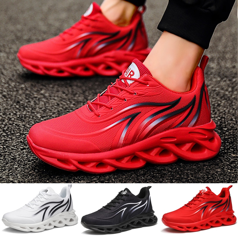 Men's Flame Printed Sneakers Flying Weave Sports Shoes Comfortable Running Shoes Outdoor Men Athleti
