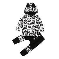 aa toddler clothes sets boys girls suit animal print hoodie long sleeve topspants tracksuit baby outfits set black clothing set