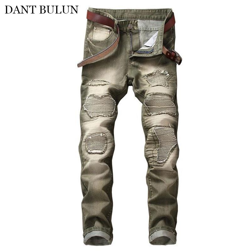 Мужские облегающие джинсы в стиле ретро, потертые плиссированные джинсы в стиле пэчворк с дырками, мужские прямые байкерские Джинсы, Брюки