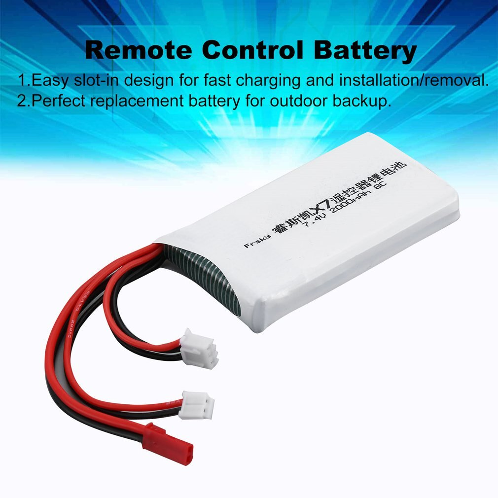7,4 V 2S 2000mAh 8C recargable de Control remoto transmisor de batería de litio para FrSky Taranis Q X7 de los modelos de RC a