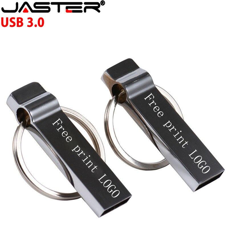 JASTER USB 3.0 1PCS free custom logo Flash Drive флешка 3.0 64GB 32GB Metal Pen   Memory Stick Pendrive With Key Ring Whistle