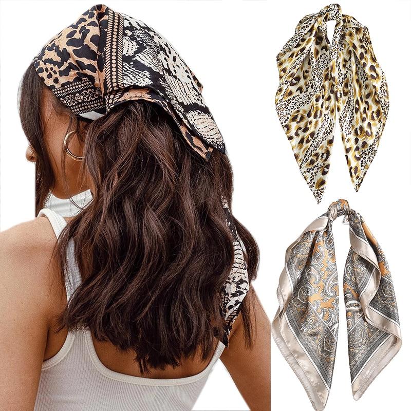 Haimeikang 60*60cm Square Silk Scarf Women Headband Fashion Print Neck Scarfs Office Hair Band Hand Kerchief Female Bandana