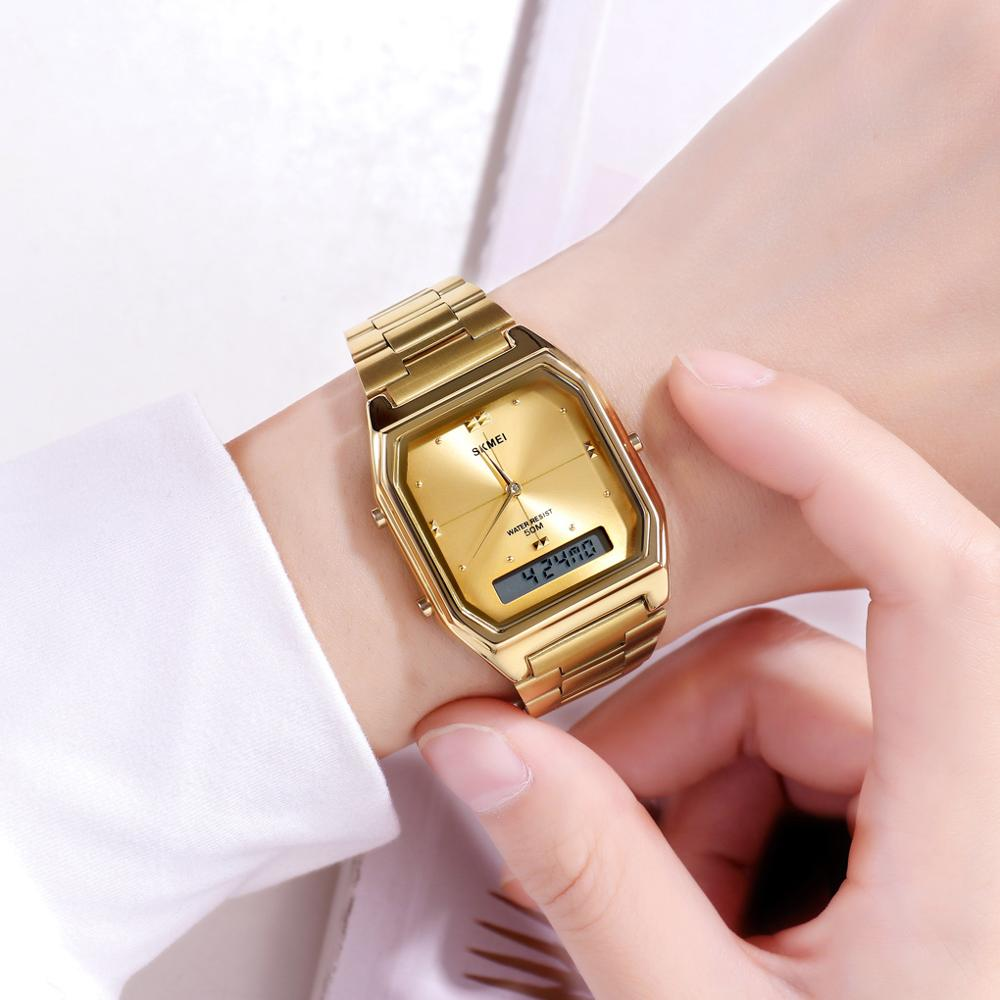 SKMEI Luxury Women Golden Quartz Watch 3 Time Ladies Digital Wristwatches Female Clock Relogio Feminino Women's Watches 1612 enlarge