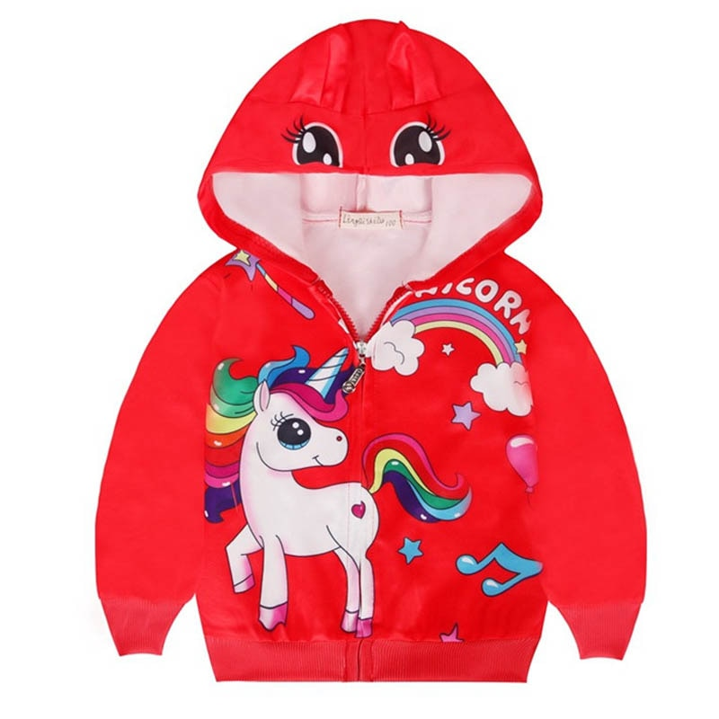 2019 Spring Autumn Girls Unicorn Coat Baby Cartoon Print Kids Rainbow Hooded Outwear Baby Kids Chris