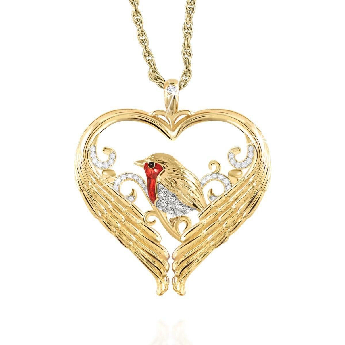Подвеска в виде крыльев сердца, золотого цвета, покрытая красной эмалью, птицы, Спарроу, ожерелье, женское ювелирное изделие