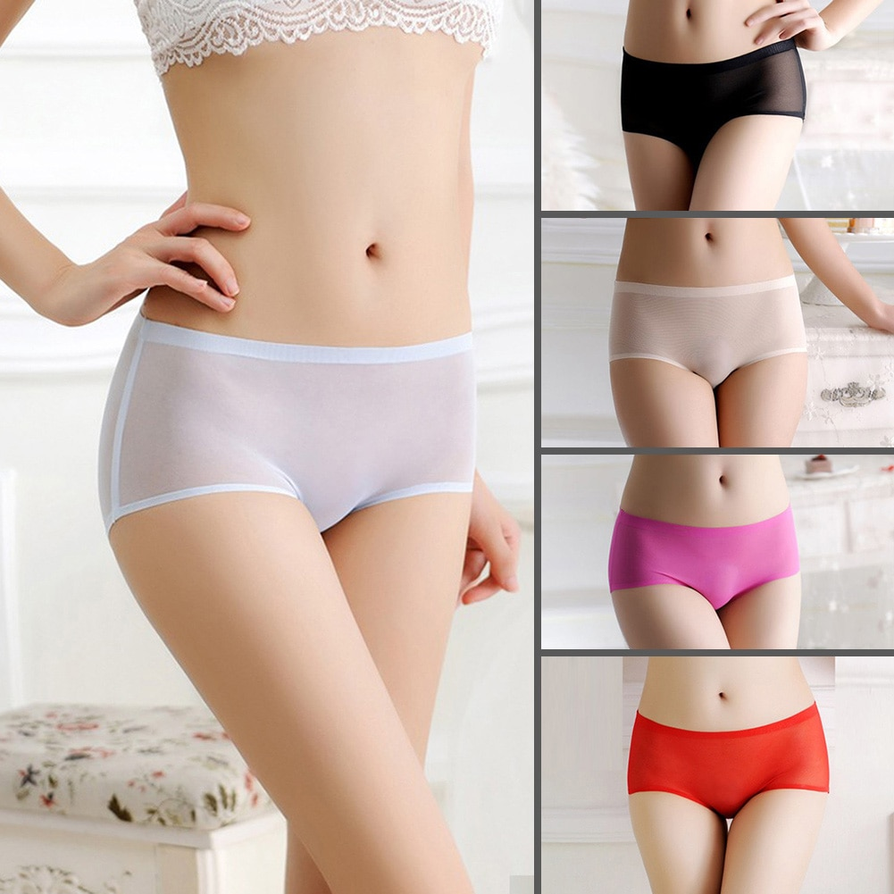 Soft Women Briefs Seamless Underwear Gauze Sexy Panties Briefs Fashion Transparent Female Knickers Mesh Intimates Mid-Rise White the white briefs футболка