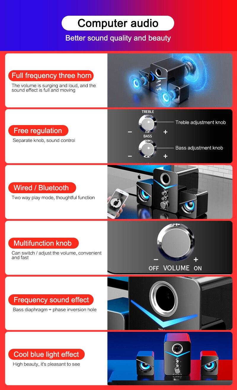 Mini Computer 2.1 LED Speaker USB Wired 3D Stereo Sound Surround Loudspeaker for Phone PC Laptop Notebook Loudspeakers enlarge