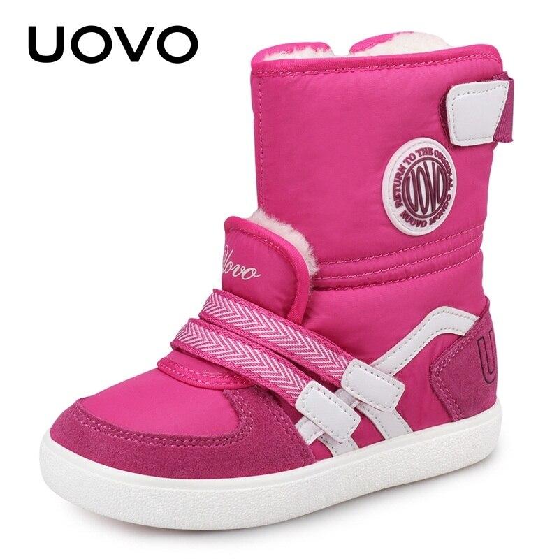 UOVO 2020 Wasser Abweisend Kinder Stiefel Mode Schnee Stiefel Kinder Winter Schuhe Schöne Mädchen Kurze Stiefel Mit Pelz #26-39