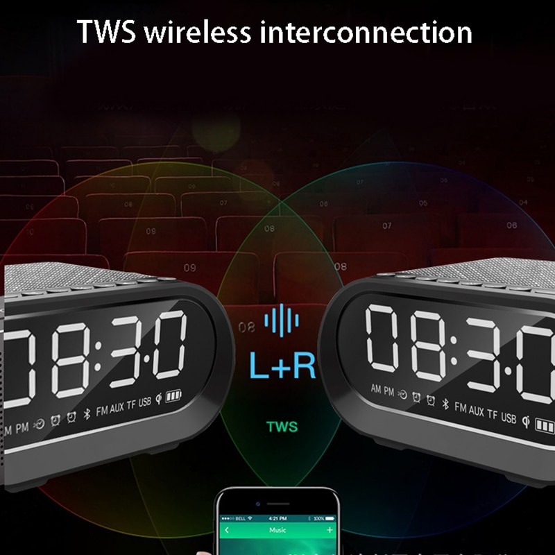 YABA Charging Portable Wireless Speaker  Bluetooth-compatible Column Alarm Clock Subwoofer with Wireless Charging FM Radio enlarge