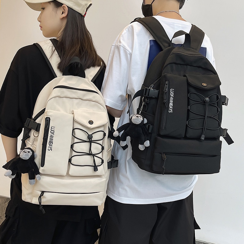 Fashion Casual Unisex Backpack Large Capacity Solid Color Waterproof Nylon Travel Backpack High-quality Student Schoolbag 2021 недорого