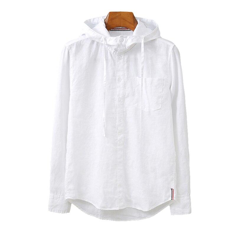 100% النقي الكتان الرجال طويلة الأكمام مقنعين قميص الصلبة الأبيض الأزرق قبعة الوقوف طوق البلوز القمم الذكور موضة ملابس يومية غير رسمية