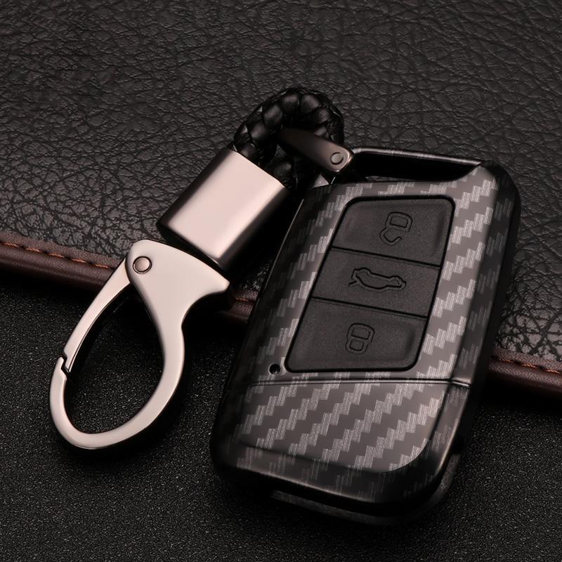 Capa completa de fibra de carbono, proteção para chaves, porta-chaves, para vw volkswagen magotan b8, interior automotivo