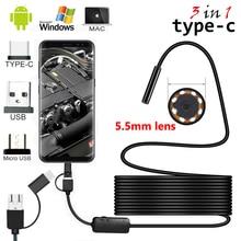 Appareil photo Endoscope Android   Câble de 2m/5m 5.5mm 8mm lentille PC Mini Endoscope, casseroles industrielles typique USB étanche