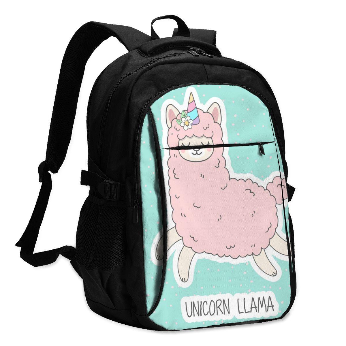 Mochila USB Charge para mujer, bonita mochila Rosa unicornio esponjoso Llama estudiante, mochila con letras impresas, mochila escolar para chicas adolescentes