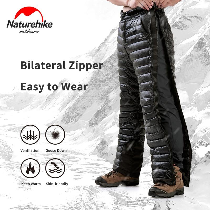 Naturehike уличные теплые штаны с гусиным пухом, двусторонняя открытая молния, штаны для кемпинга, ветрозащитные водонепроницаемые походные лыж...