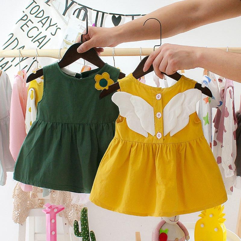 Girls Dress 2021 nowa sukienka dla dzieci Solid Color śliczne skrzydła anioła bez rękawów Birthday Party Princess Dress letnie dziecięce ubrania dla dzieci Suknie    -
