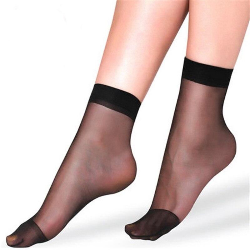 20pcs=10 Pairs Summer bamboo female Short Socks Women's socks Thin Crystal Transparent Silk Socks Girl Ankle Sox Elastic