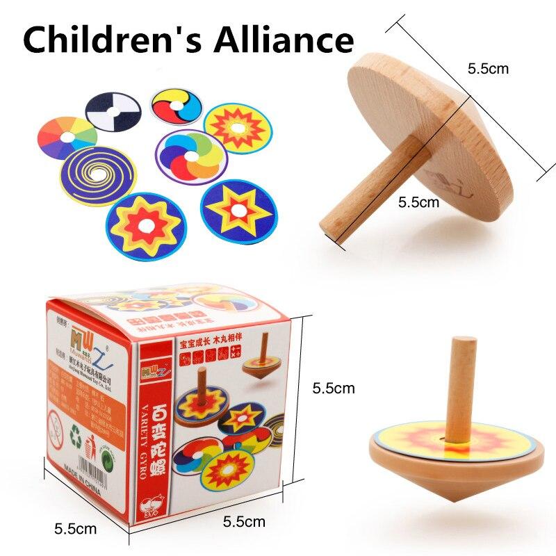 Juguete giratorio para niños, juguete clásico superior giratorio de madera, juguete Montessori colorido de 8 tarjetas de dibujo, pegatina educativa temprana de haya