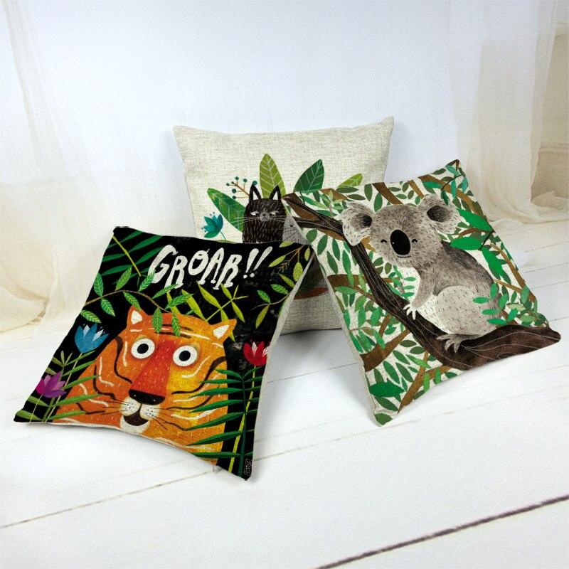 45X45Cm dibujo paisaje naturaleza Animal tirar funda de almohada algodón Ya perro gato patrón cáñamo hogar sofá coche Decoración cojín Cove