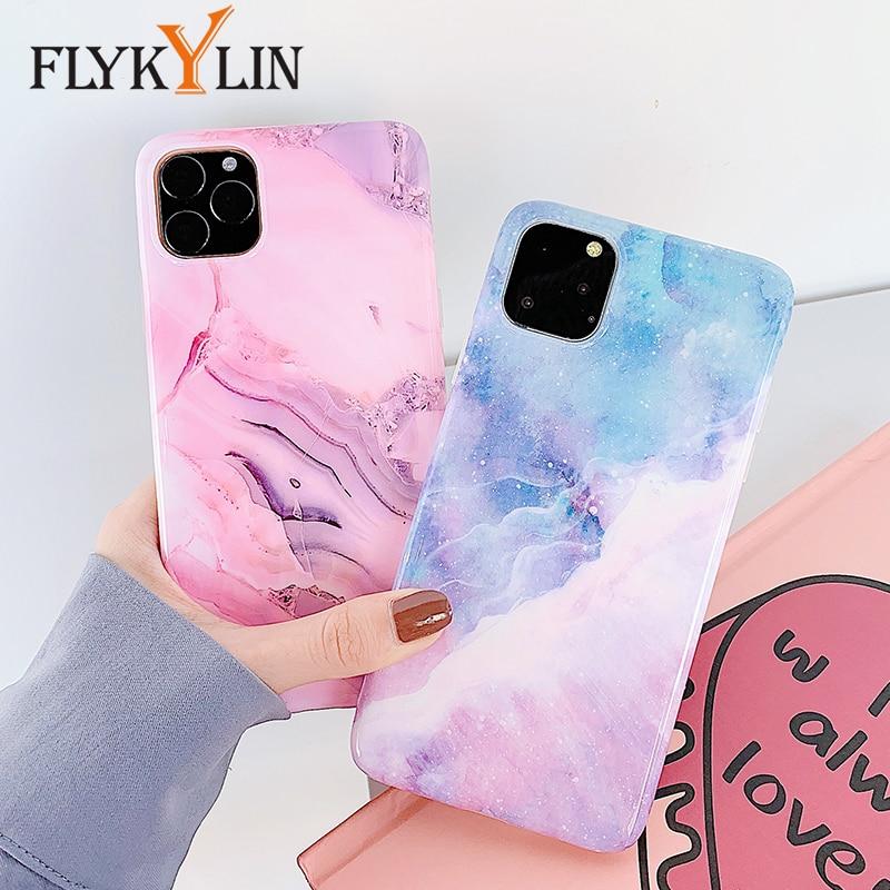 Mármore Rosa Case Para iphone 11 FLYKYLIN Roxo Pro Max 7 8 Plus X XS XR 6 6 S S de Volta cobrir em Glossy IMD Silicone Céu Telefone Coque