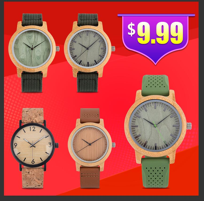 BOBO BIRD Wooden Men's Watches Relogio Masculino Ladies Wristwatch Couple Watches With Leather Band Silicone Strap Great Gift