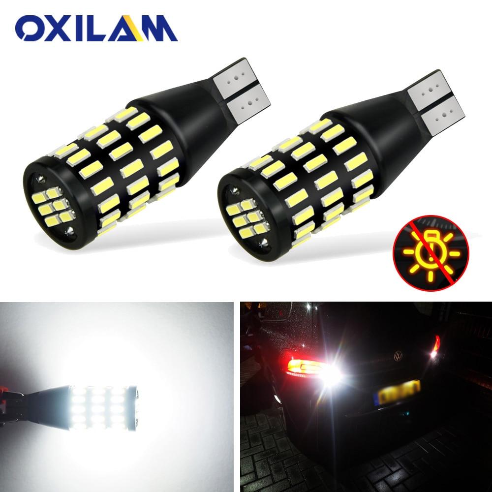 OXILAM 2Pcs T15 W16W 1500LM Alta Brilhante Lâmpada LED Canbus Nenhum Erro 72pcs 4014 SMD 921 912 LED lâmpada Back Up Luz Reversa 6500K 12V