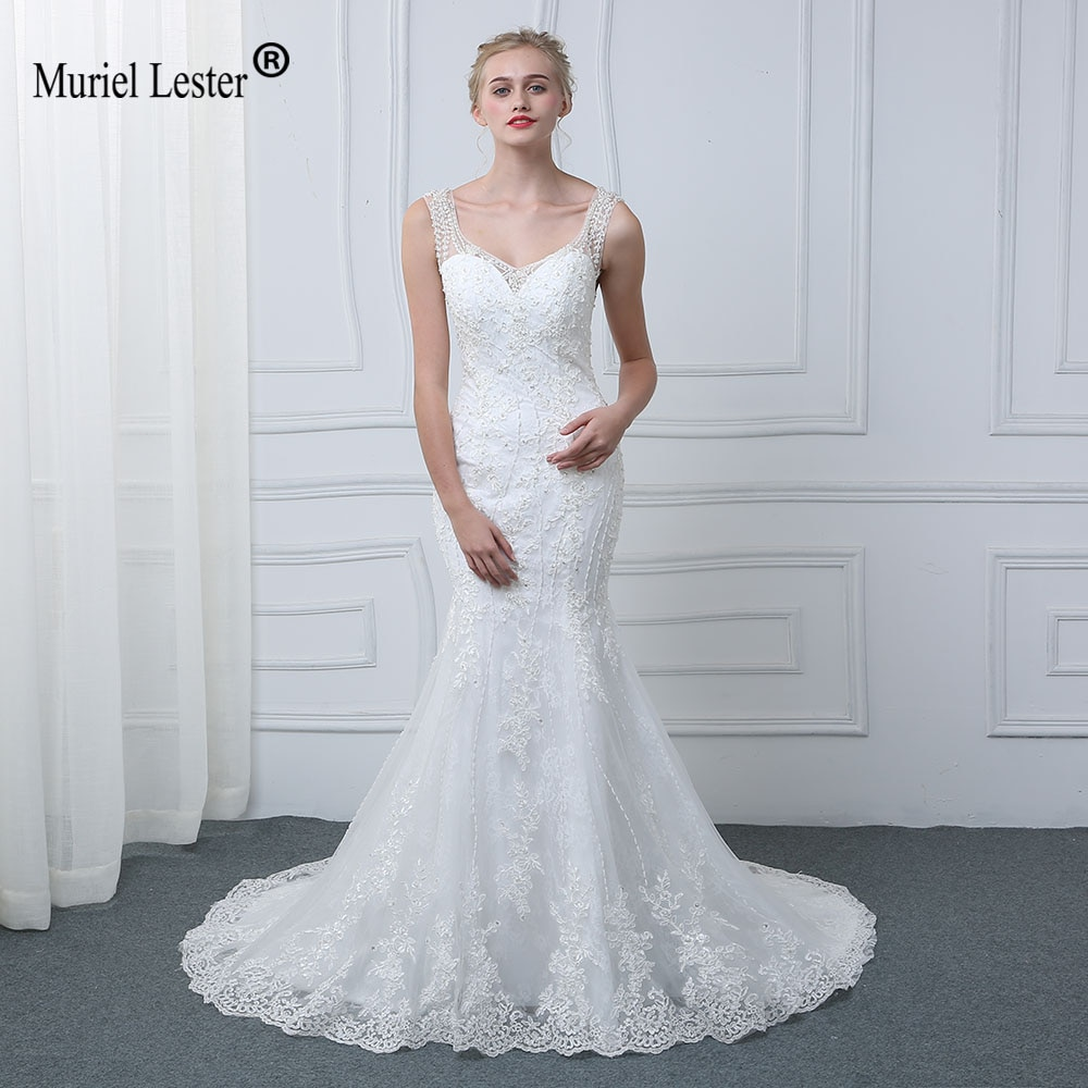 Trouwjurk sereia boho vestido de casamento branco 2020 ver através de tule vestidos de noiva cristais frisado luxo varredura trem vestidos de noiva