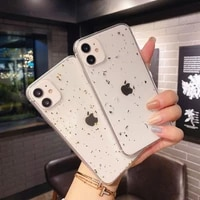 transparent glitter soft phone case for iphone 12 11 pro max 6s 7 8 plus x xs xr max se 2020 gold foil bling sequins back cover