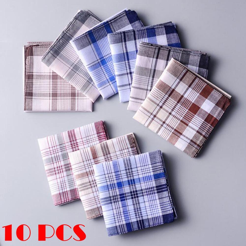 10pcs Men plaid Handkerchiefs 100% Cotton with Stripe Hankies Gift Set Women Classic Handkerchief Po