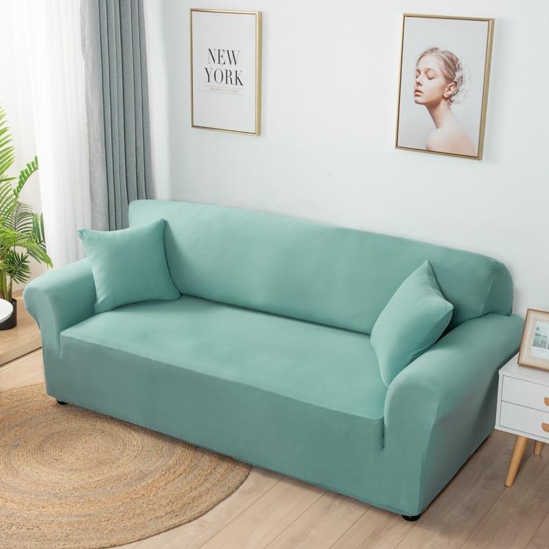 Эластичный однотонный чехол для дивана, эластичный плотный чехол для полноразмерного дивана, нескользящий чехол для гостиной, домашний тек... чехол