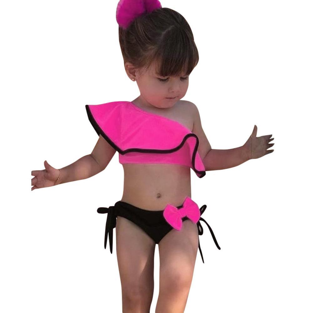 Bañador con volantes estampado liso para niños y niñas, bañador con lazo a la moda para niños pequeños, traje de baño sin mangas, Bikini de verano, ropa de playa