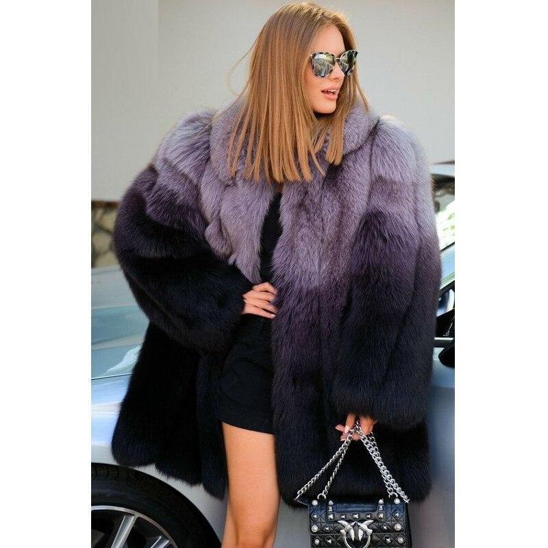 الشتاء النساء ريال فوكس الفراء معطف التلبيب طوق 80 سنتيمتر متوسطة طول حقيقي كامل الجلد الأزرق الثعلب الفراء معطف اللون خياطة الزي